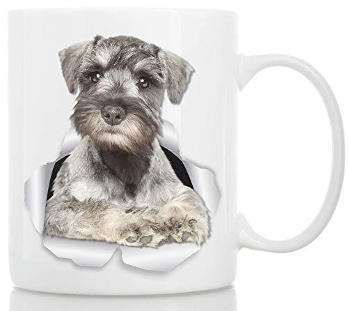 Neugierige Schnauzer Tasse - Keramik grau Schnauzer Kaffeetasse - Perfekte Schnauzer Geschenke - Lustige süße Schnauzer Kaffeetasse für Hundeliebhaber und Besitzer 11oz weiß