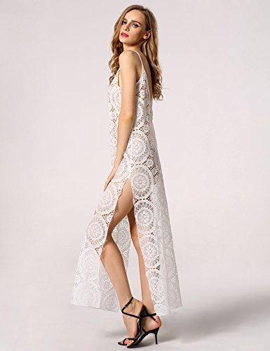 ZEARO Damen Spitze Böhmisch Maxikleid Sommerkleid Strandkleid Partykleid Weiß