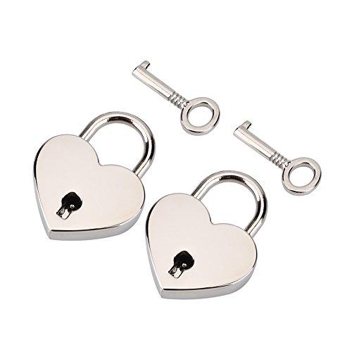 2 Conjuntos Mini Forma de Corazón Candado de Metal Estilo Antiguo Vin