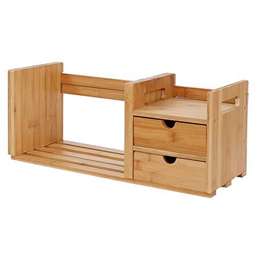 AFDK Vassoi per documenti Libreria per ufficio in bambù Scrivania per scrivania estensibile regolabile a 4 scomparti con 2 cassetti Ripiano in legno, bambù naturale