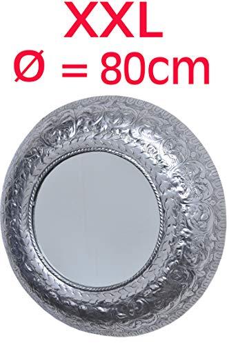 MAADES Spiegel Wandspiegel XXL rund Silber ø 80cm groß   Großer Marokkanischer Flurspiegel Modern Design mit Rahmen   Runder Vintage Badspiegel ohne