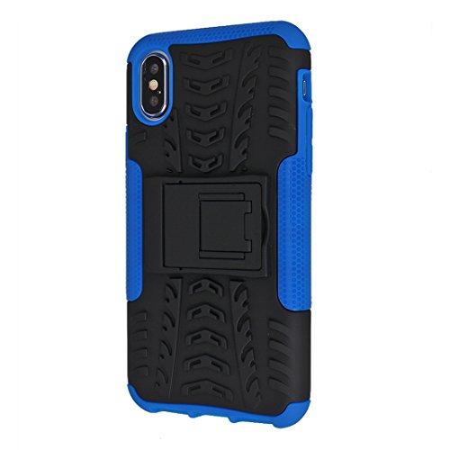 iPhone X Hard Hülle, Asnlove 2 in 1 Hart PC und TPU Skin Outdoor Dual Layer Armor Case Handy Schutzhülle Shockproof Robuste Hülle 360 Grad Kompletter Schutz Backcover Mit Stentfunktion für Apple iPhon Blau