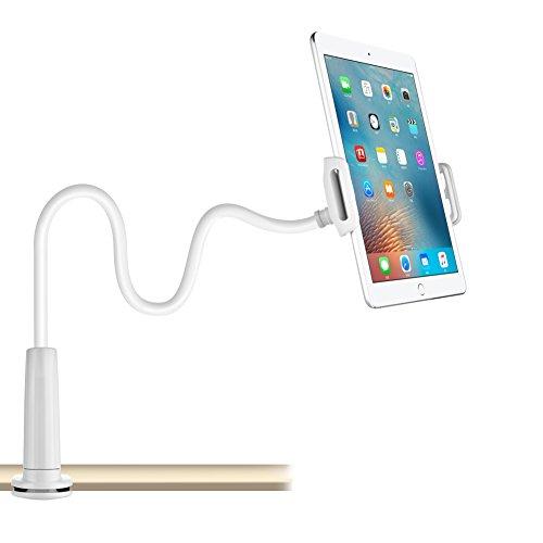 Schwanenhals Handy Halterung, iPad Schwanenhals Halterung Halter Einstellbare Halter Tablets halterung 360 ° Drehen für 4-10,6 Zoll Android und Apple Device(iPad Holder) Iphone 5 Weiß Oben Und Unten