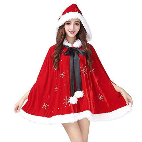 Rote Samt Cape Kostüm - LAEMILIA Weihnachten Kostüm Poncho Kapuzen Umhang Fashion Festlich Rot Schneeflocken Aufdruck Damen Asymmetrisch Kapuzenmantel Samt Warm Weihnachtszeit Cape