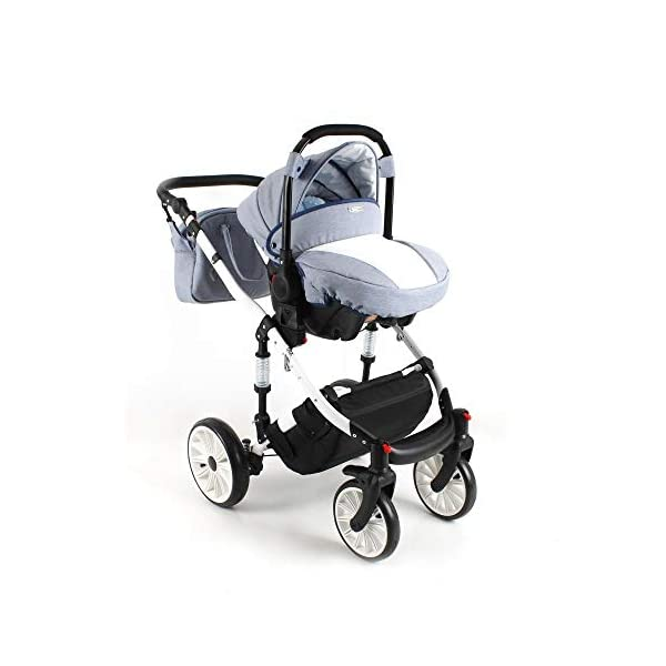 Travel System Stroller Pram Pushchair 2in1 3in1 Set Isofix Ottis We by SaintBaby White OW-02 4in1 car seat +Isofix SaintBaby 3in1 , 2in1 or 4in1 selectable with isofix. With 3in1 you get the car seat (baby seat) in addition. With 4in1 you get both the infant carrier with Isofix mount and an Isofix base for your car. Of course, each set includes the infant carrier (classic stroller) and the buggy attachment (sports seat). The free accessories are also included in each set (changing bag, mosquito net and rain hood). Of course the car complies with the EU safety standard EN1888. During the production as well as before shipping, each car is carefully checked, so that you can be sure to have one of the best cars. Saintbaby stands for all-round carefree packages, so you also get a changing bag in the colour of the car, as well as rain and insect protection free of charge. With all the colours of this pram you will find the pram of your dreams. 4