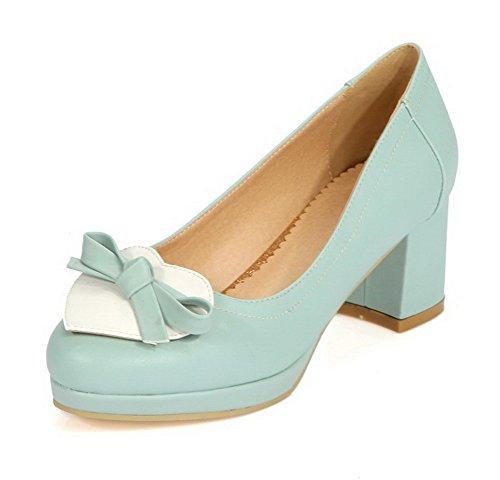 AgooLar Femme Rond Tire Couleurs Mélangées à Talon Correct Chaussures Légeres Bleu