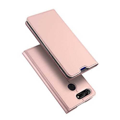 DUX DUCIS Hülle für Honor View 20, Leder Flip Handyhülle Schutzhülle Tasche Case mit [Kartenfach] [Standfunktion] [Magnetverschluss] für Huawei Honor View 20 (Rose Golden)