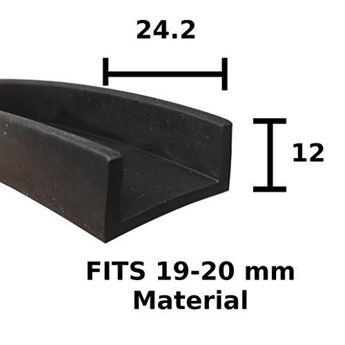 Quadratische Ecken-Schutzleiste aus EPDM, 24,2 x 12 mm, für 19-20 mm, Schwarz
