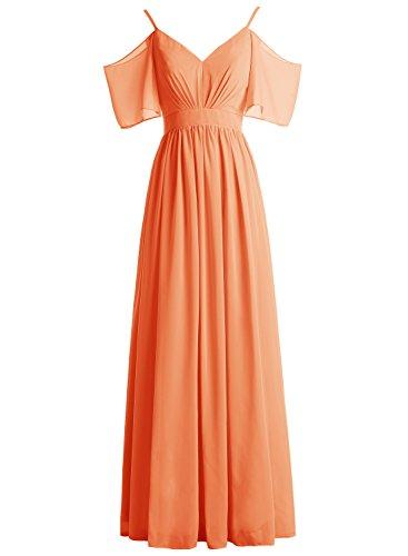 Bbonlinedress Robe de soirée et de demoiselle d'honneur légère plissée manches chauve-souris bretelles spaghettis longueur ras du sol en mousseline Orange