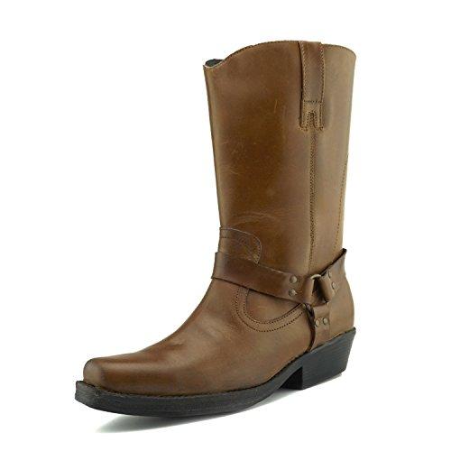 CityStyle4You Herren Cowboy-Leder-Stiefel Biker Westernstiefel, Braun - Tan Western - Größe: 45