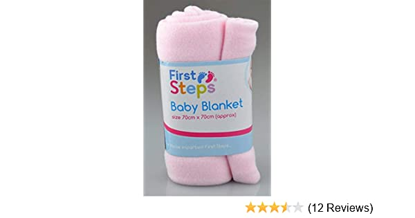 First Steps Pack of 2 Fleece Baby Blankets for Pram Crib Moses Basket or Bed 70x70cm