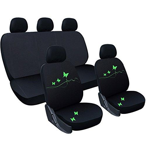 WOLTU AS7305 Set Completo di Coprisedili per Auto Macchina Seat Cover Universali Protezione per Sedile di Poliestere con Ricamo Farfalle Classici Nero
