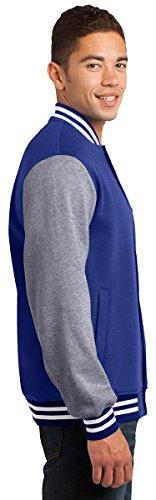 Sport Tek Veste de Letterman en polaire confortable pour femme Taille XS–4x Black/ Vintage Heather