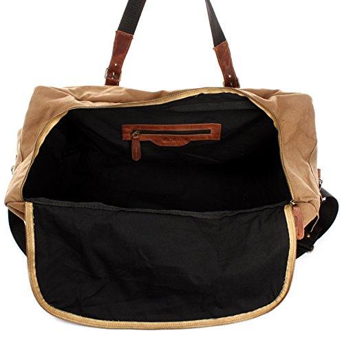 LECONI großer Weekender XXL Reisetasche Sporttasche Damen Herren Leder Canvas 60x30x30cm LE2019-C khaki / braun