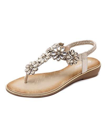 Antiscivolo sandali da donna da estate, open toe strass flip flop sandali comodi estivi scarpe da spiaggia basse tacco piatto bohemia decorate,scarpe da spiaggia da donna oro eu 38