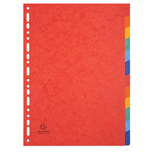 Exacompta - Réf. 1412E - Intercalaires carte lustrée 225g 12 positions - A4 - couleurs assorties