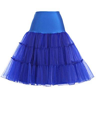 Damen 50s Retro Petticoat Unterrock für wedding kleid abendkleider brautkleid 2X CL8922-7,C1,Blau