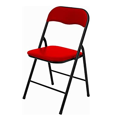 DNY© Black, Blue & Red Padded, Folding, Desk Chair Seat Comfort Foldable Easy Carry & Storage. Set of 1, 2, 4, 6 available - cheap UK light shop.