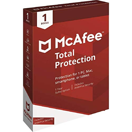 McAfee Total Protection Includes Antivirus Security 1 Device 1 Year Subscription