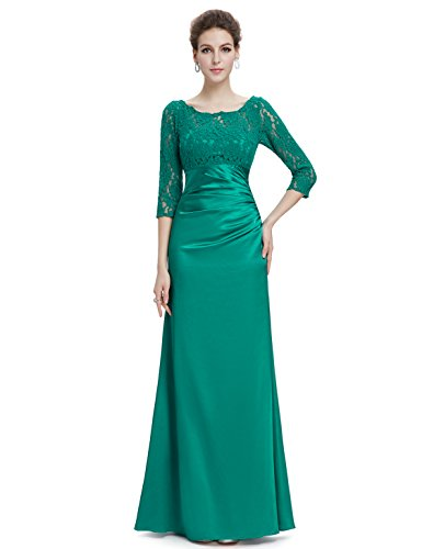Ever Pretty Robe de Soiree Ceremonie Manches 3/4 09882 Vert de Base d'Impression