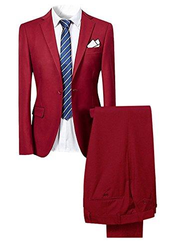 Slim Fit 2-Teilig Herren Anzug für Hochzeit Party Rot Medium