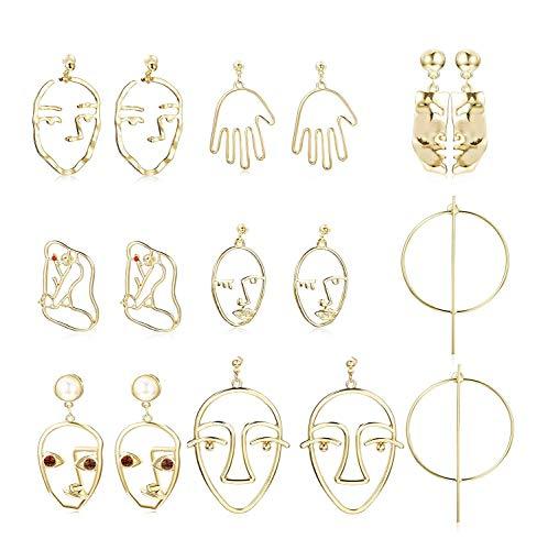 Finrezio 8 Paare Ohrringe Gesicht Retro Kunst abstrakte Geometrie Formen Statement Ohrringe Gold