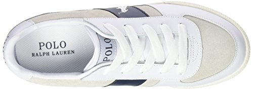 Polo Ralph Lauren Speed 67, Baskets Basses mixte enfant Blanc - Weiß (white suede/leather)