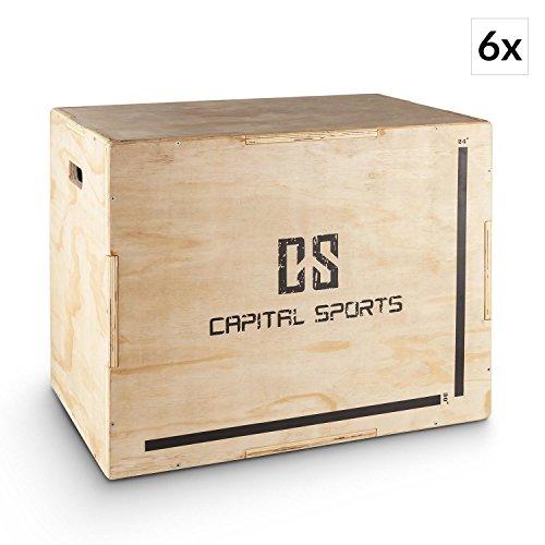 "Capital Sports Shineater Set 6X Caja de Salto Pliométrica de 3 Alturas 20"" 24"" 30"" (Cajón pliométrico de madera 11 capas, 3x altura entrenamiento, apto gimnasio profesional o entrenamiento aire libre, color madera)"