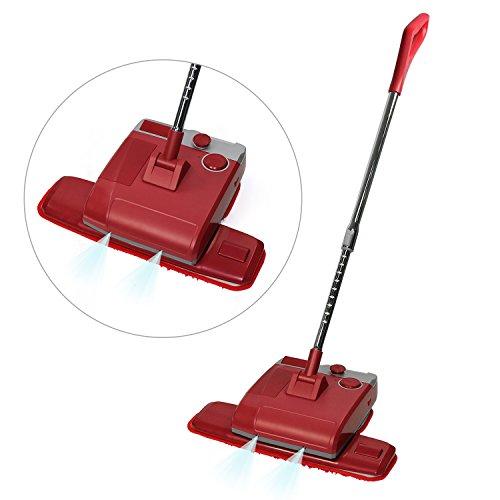 Preisvergleich Produktbild Fine Dragon 4 in 1 Kabelloser Nass-/Trock Mop Bodenwischer Wachsbodenreiniger Bodenpolierer Poliermaschine mit Wasserbehälter inkl. Vier Wiederverwendbare Reinigungspads,Rot