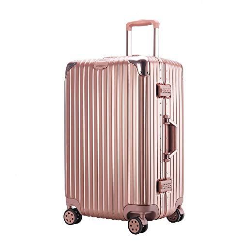 FDSjd Addensare la valigia di modo semplice di grande capacità di imbarco della cassa del carrello della ruota universale della valigia dei bagagli (colore : Oro rosa, dimensioni : 26 inches)