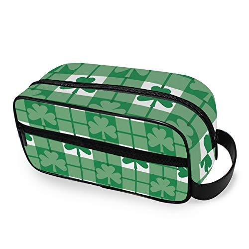 QMIN Kulturbeutel, tragbar, mit Kleeblatt-Plaid-Karomuster, Kosmetiktasche, Make-up-Tasche für Jungen, Mädchen, Damen und Herren (Plaid-karomuster)