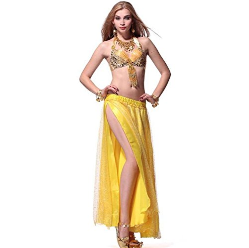 Byjia Goldene Geschnürte Highlights Bauch Tanzen Kit . Yellow . (Belly Dancer Kostüm Golden)