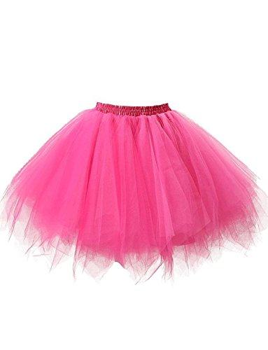 (DYSS Damen 1950er Jahre Knielanger Petticoat Vintage Krinoline Tüll Ballett-Blase Tutu Rock (Rose Red, L/XL))