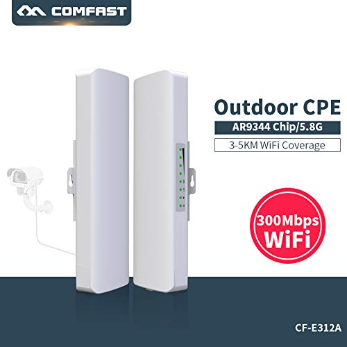 COMFAST 300Mbps 5.8Ghz Pont de Réseaux CPE WiFi Extension Répéteur Routeur de Extérieur WiFi Transmission sans Fil pour Longue Portée 3-5KM Couverture WiFi(2 Pic) (CF-E312AV2* 2 pic)