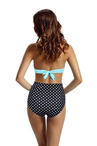 Zeraca Damen Retro Halter Push up High Waisted Bikini Karneval Badeanzug Polka dot Aqua Sky
