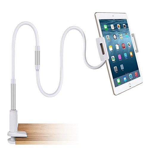 Flexible Arm Tablet Standplatz, HTIANC 110cm Schwanenhals Halterung drehbar 360 Grad, mit ultra-stabile Bolzen-Klemmplatte für Büro, Bad, Schlafzimmer, für iOS und androide Tablete PC (Lange Arm-tablet-halterung)