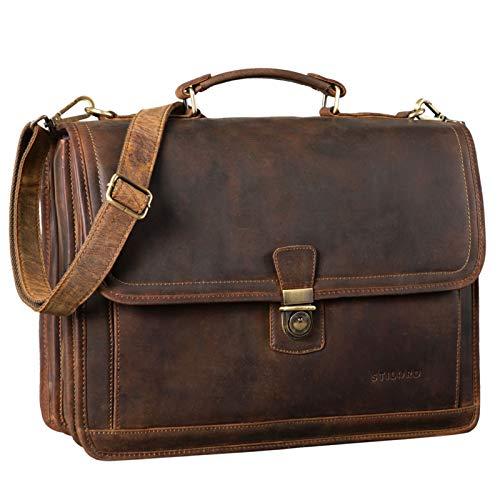 STILORD 'Thaddäus' Vintage Aktentasche Lehrertasche Umhängetasche Leder Große Businesstasche mit 14 Zoll Laptop-Fach Dreifachtrenner Schloss und Schlüssel, Farbe:mittel - braun
