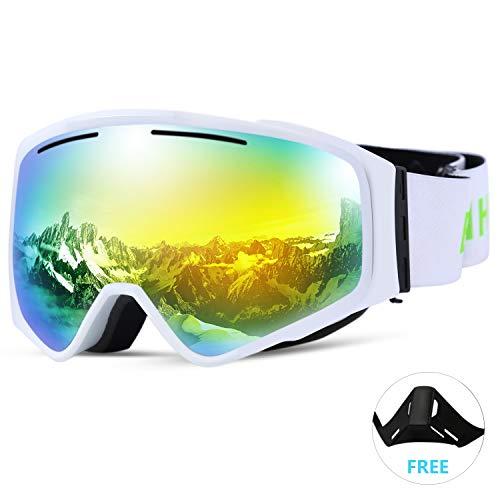 SunTime Ski Brille Ende Doppelschicht Anti-Fog Skibrille Outdoor Skibrille Zylindrische Linse abnehmbare Magnet Unsex (Grün)