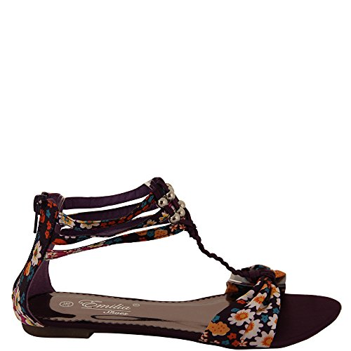Sandale d'été avec motif floral et satin t-riemchen v1374 Marron - Violet