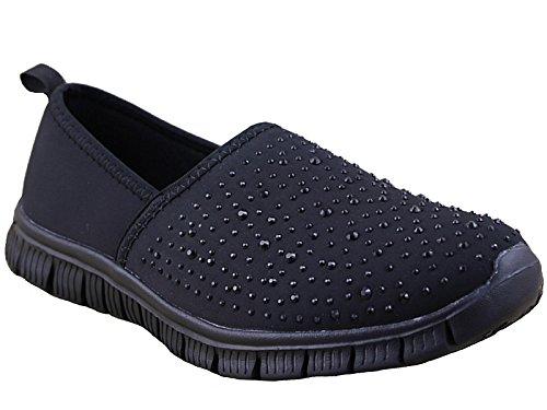 Ladies Cushion Walk Lightweight Memory Foam Slip On Canvas Pumps Plimsoll Casual...