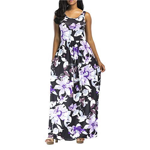 LWX Kleider Damen Blumen Kleid Elegant Langarm Maxikleid Floral Print Böhmischen Strand Maxi Kleid Casual,Purple,L