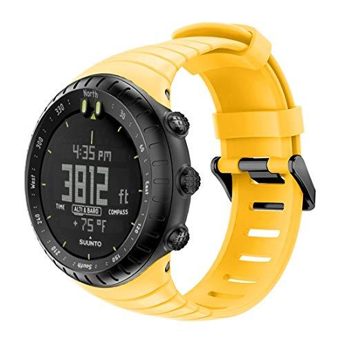 NoNo Smart Watch Armband mit Silikonarmband for den Suunto Core Uhr (Farbe : Gelb)