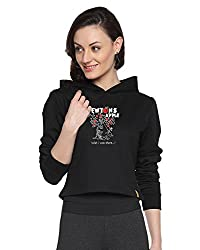 Campus Sutra Black Womens Printed Crop Hoodie (AW15_HCR_W_NEW_BL_S)