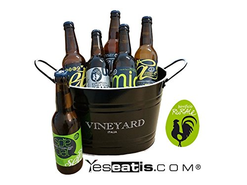 BIRRIFICIO RURALE - BOX REGALO 6 Birre Artigianali (6x33cl) con secchiello refrigerante per ghiaccio - NERO