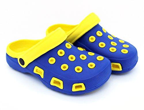 Fashion & Joy–Zoccoli da donna con cinghie e profilo suola–Pantofole ciabatte sandali–protetto e ben ventilato attraverso l estate–Pantofole Pantofole signora Clogs Zoccoli typ428 Blu/Giallo