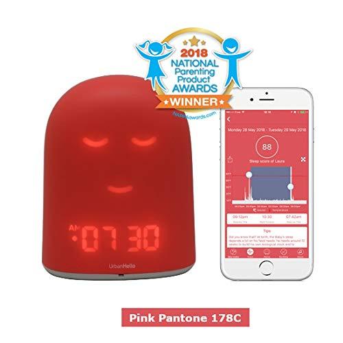 UrbanHello REMI - Babyphone Audio avec alertes de Bruit 5-en-1 - Réveil Enfant Jour Nuit éducatif, Sleep Trainer - Suivi du Sommeil - Veilleuse - Enceinte de Musique - Rose