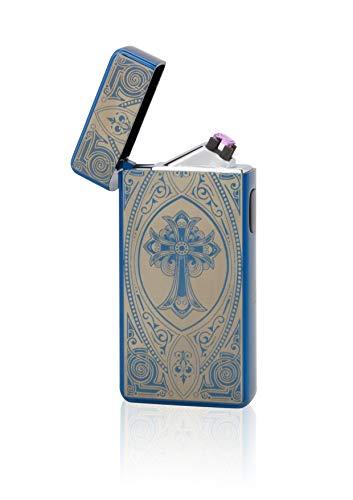 TESLA Lighter T13 Double Arc Blau inkl. Motiv Kreuz