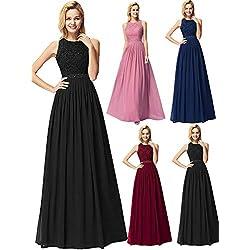 Ever-Pretty Vestido de Fiesta Noche Largo para Mujer Vestido de Fiesta Boda Ceremonia Negro 46