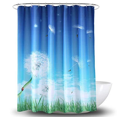 Duschvorhang Polyester 3D Digitaldruck Löwenzahn Wasserdichter Trennvorhang (Größe: 200 cm * 200 cm)