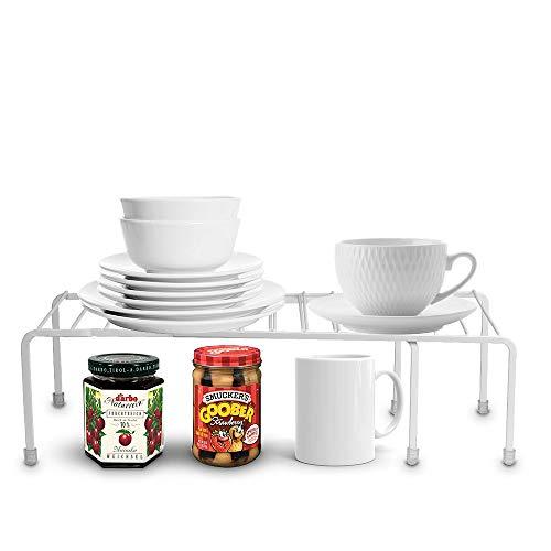 Baskiss Estante de almacenamiento de cocina, organizador de armario de despensa, marco de metal, para cocina, baño, despensa, armario, encimera (blanco)